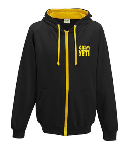 Sweat noir & jaune La Grotte du Yéti