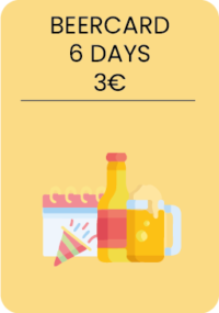 1 beer of 25cl /per day, the Sunday till Friday, 4pm,-5pm.