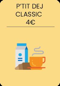 1 café ou thé + 1 jus d'orange + 1 croissant.