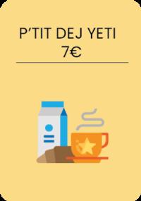 1 café ou thé ou chocolat + 1 jus d'orange, ½ baguette, beurre, confiture, miel, fromage, jambon,  yahourt, céréales, fruits, œufs brouillés.
