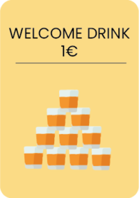 1 beer or soda of 25cl or a Yetishot of 3cl, the day of arrival, 9pm-11pm.